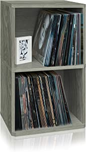 Way Basics 2-Shelf Vinyl Record Storage Cube and LP Record Album Storage Shelf, Grey (Tool-Free Assembly and Uniquely Crafted from Sustainable Non Toxic zBoard paperboard), Gray