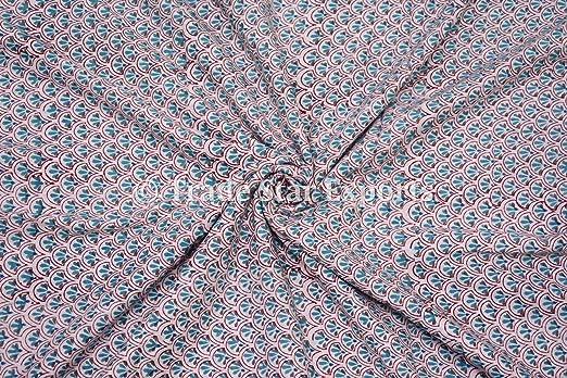 3 M indio mano impresión de bloque Tela, 100% algodón gasa Tela de ...