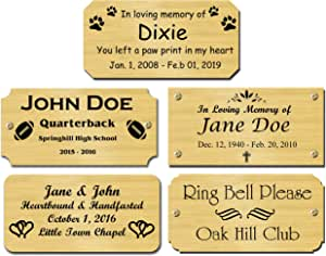 "2"" H x 4"" W, Solid Brass Satin Name Plates, Personalized Custom Laser Engraved Nameplate Label Art Tag for Frames Notched Square or Round Corners, Made to Order, Made in USA"
