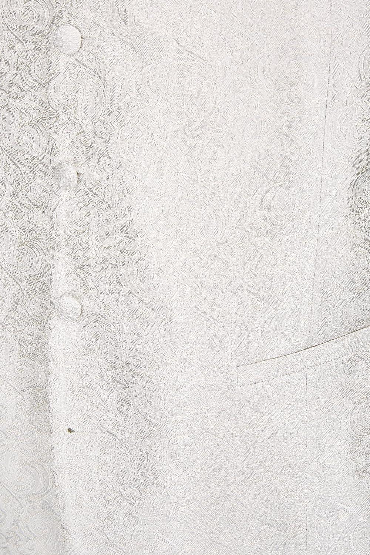 silber//creme Hochzeitsweste von Wilvorst Slimline Fantasiemuster