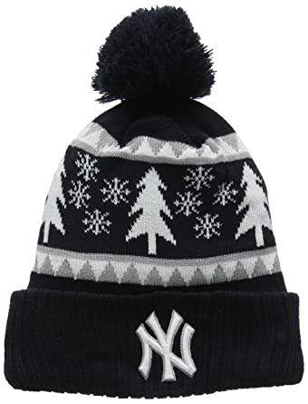 a61901b0719ecf New Era Men's Snow Pine Bobble Knit Ny Yankees Beanie, Blue (Navy ...