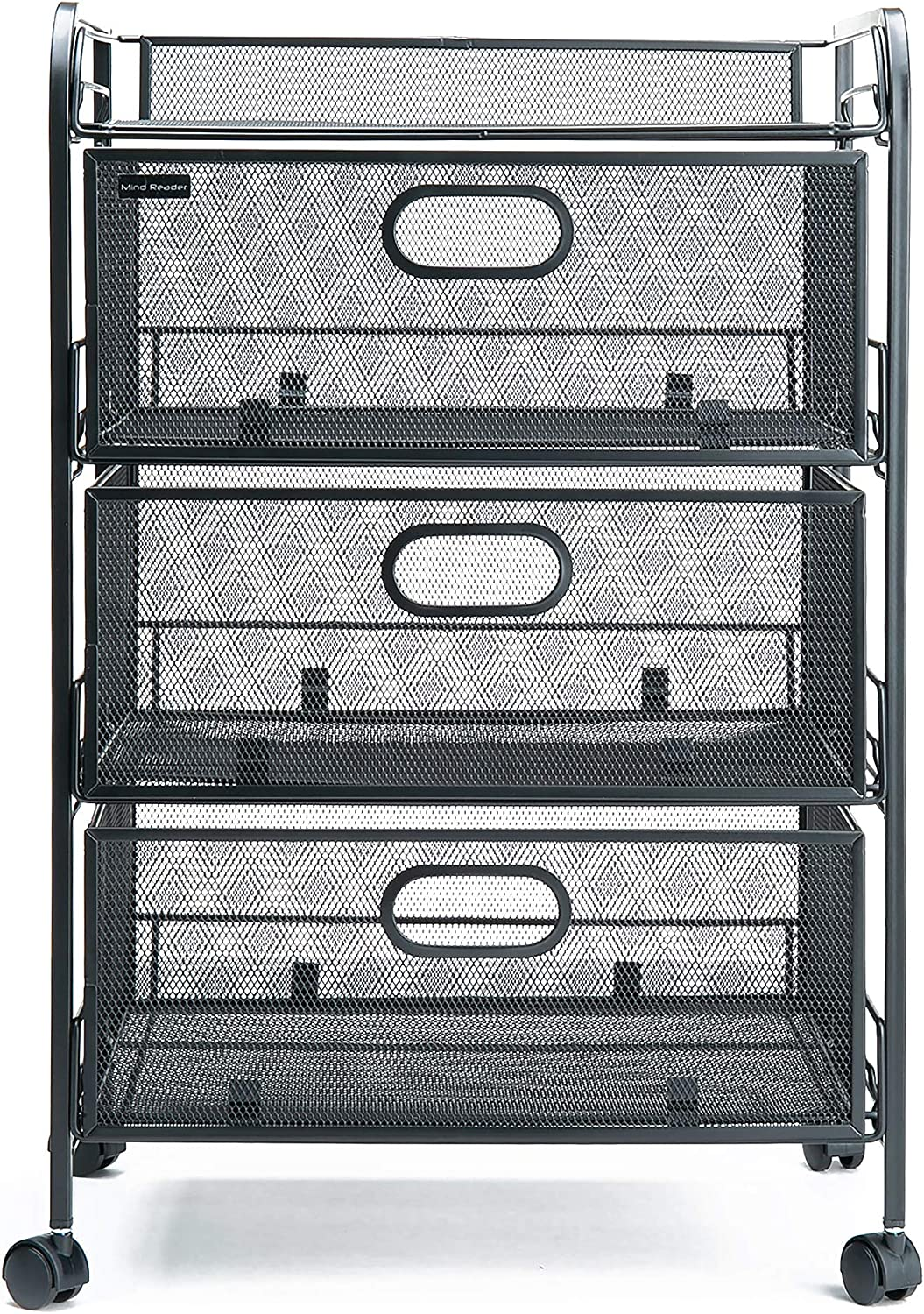 Mind Reader 4DRMESH-BLK 3 Rolling Mesh, Metal Drawers, File, Utility, Office Storage, Heavy Duty Multi-Purpose Cart, Silver, Black