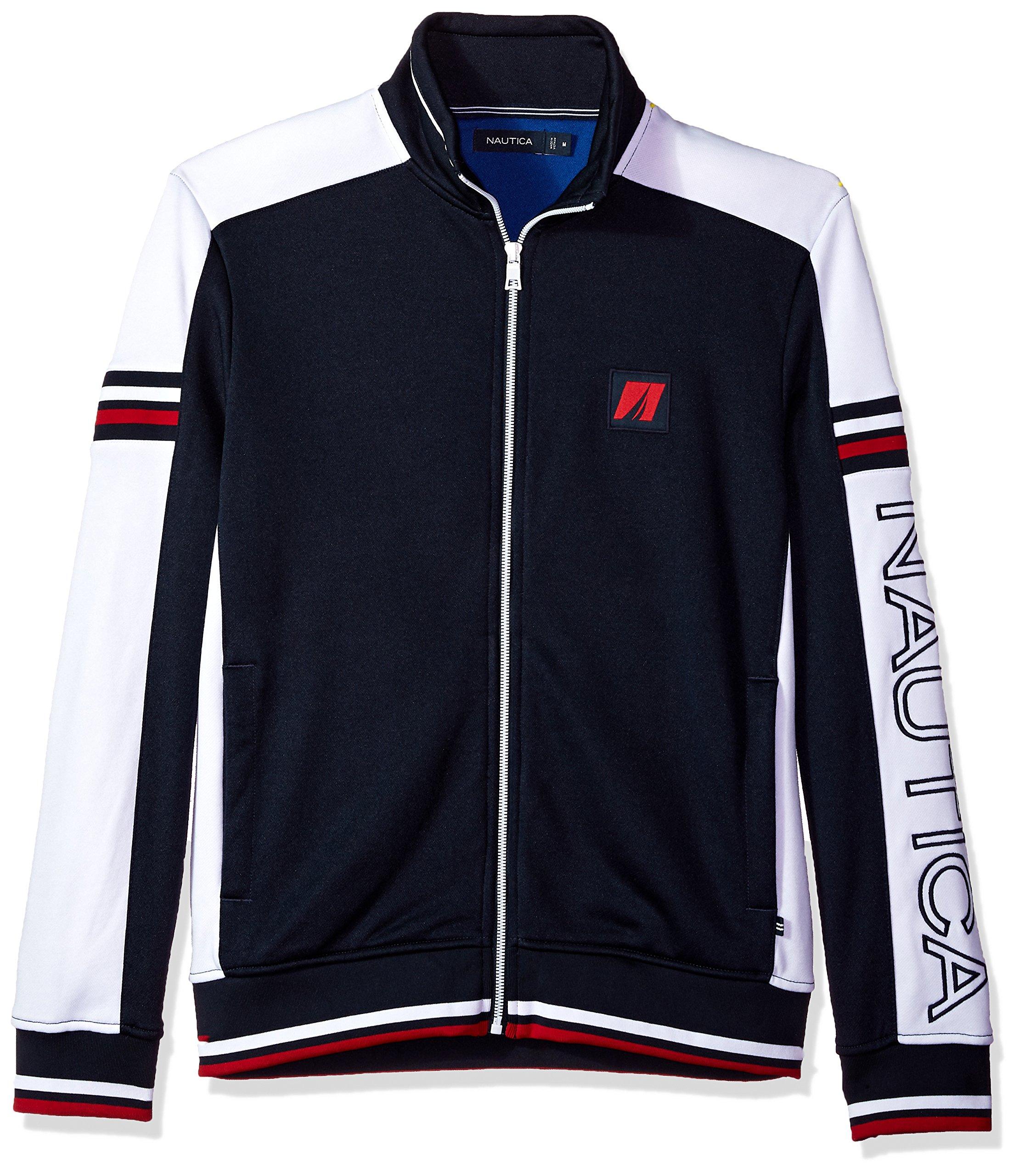 Nautica Men's Long Sleeve Retro Track Jacket, Navy, XX-Large