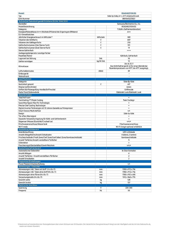 Samsung RS8000 RS6GN8231S9/EG Side-by-Side Kühlschrank/A++