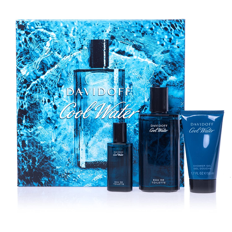 Davidoff Cool Water for Men Eau de Toilette 75ml Spray, 15ml Eau de Toilette Mini Spray and 50ml Shower Gel Gift Set Parfums Davidoff Paris 45983