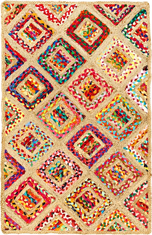 Aakriti Gallery Alfombra de algodón y Yute, Rectangular, diseño de Cuadros, Hecha a Mano, Alfombra de Yute, Alfombra India reciclada, Boho: Amazon.es: Hogar