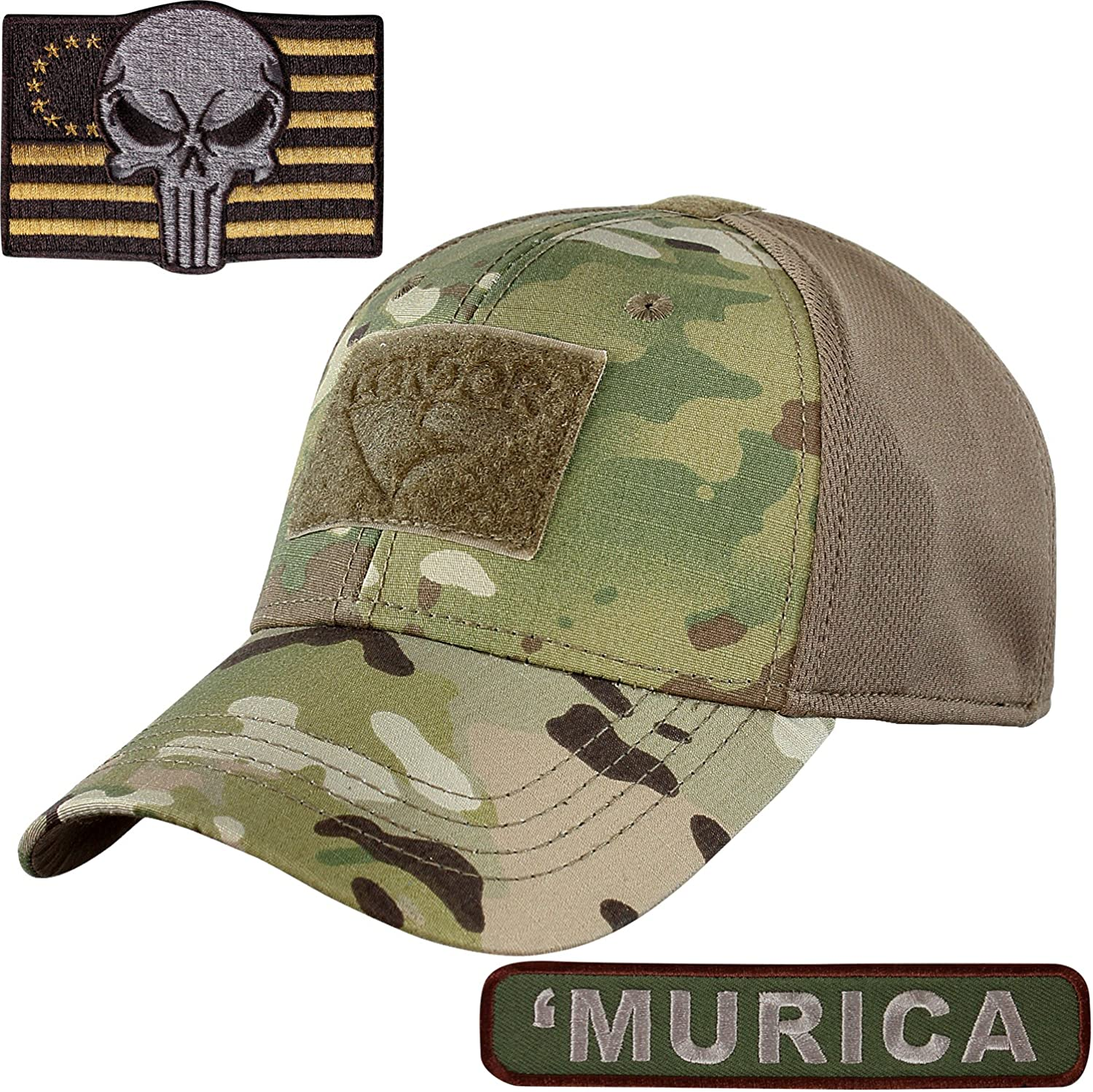 Condor Flex Fit Camo Tactical Cap Small with Punisher Two Morale Patch Bundle