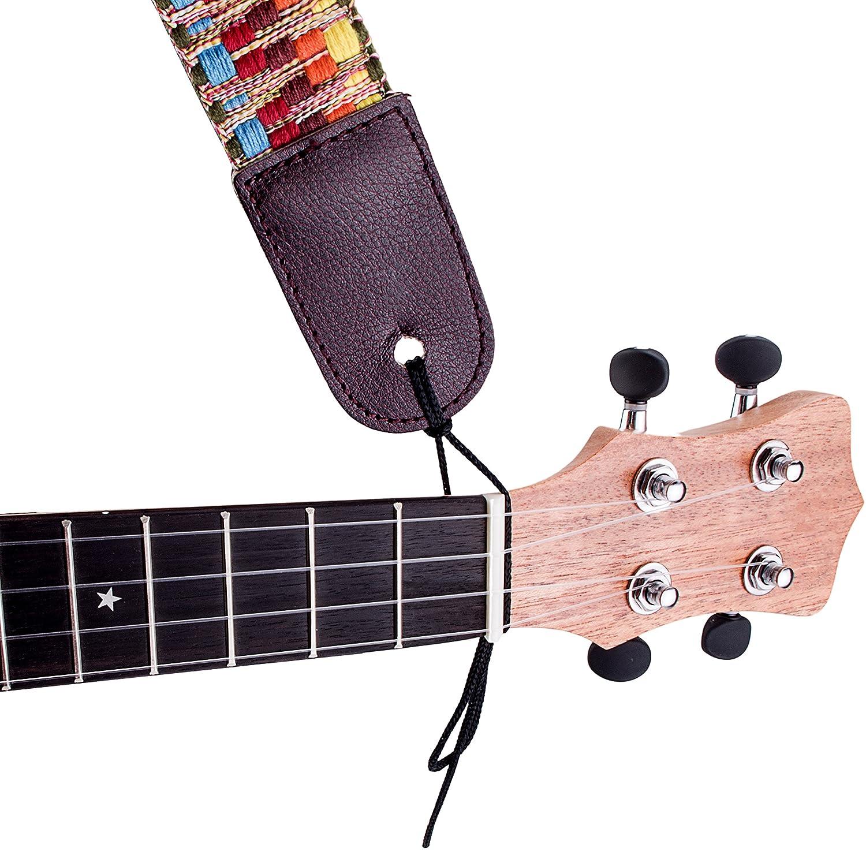 Mugig Sangle tissu r/églable color/ée en coton avec la cha/îne et le bouton de clou pour Ukulele