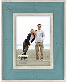 malden international designs sun washed woods turquoise distressed with inner frame border picture frame 5x7