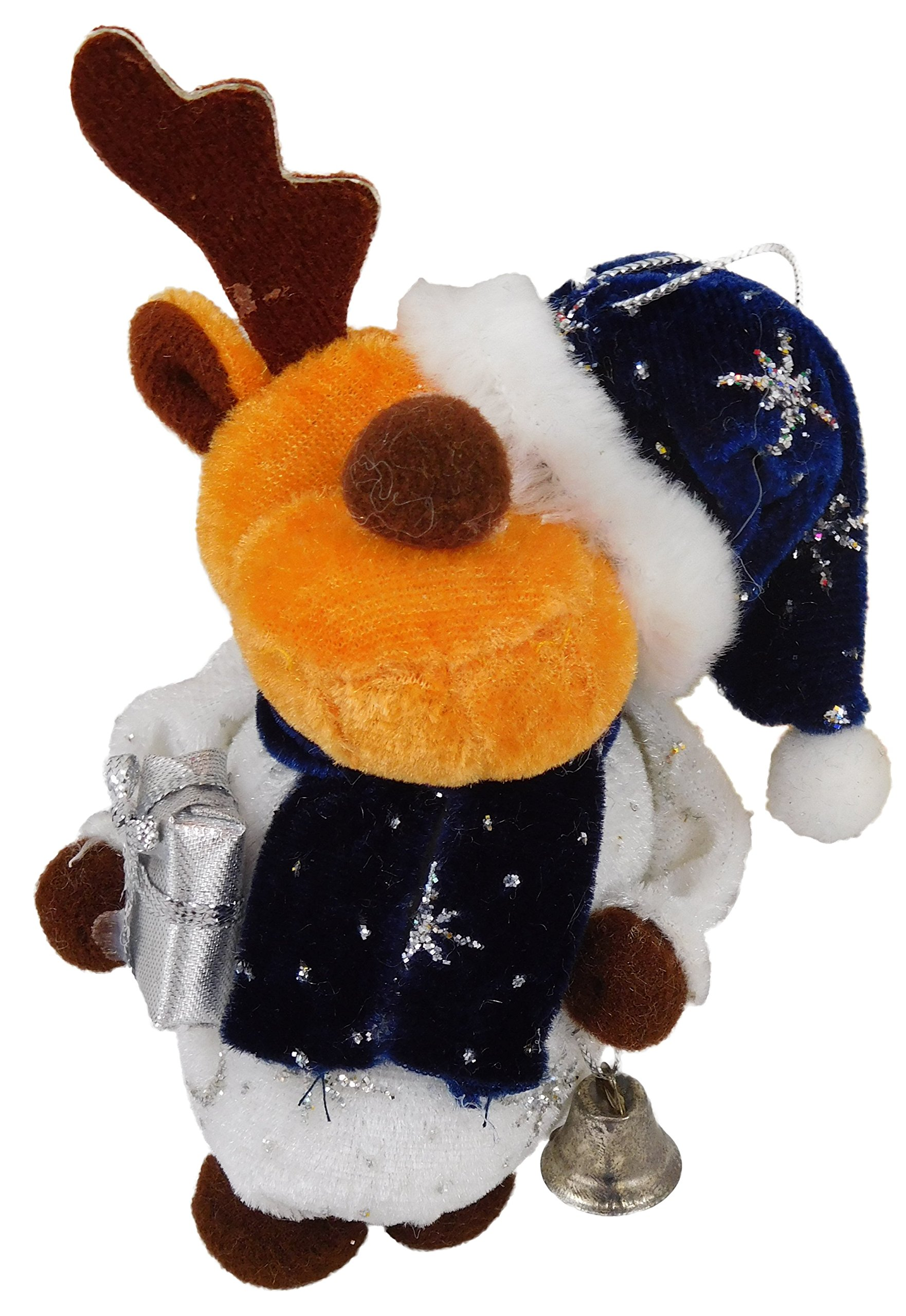 Christmas Concepts 4'' Angela's Sparkle Fabric Hanging Reindeer Christmas Tree Decoration - Reindeer with Blue Hat - Cute Christmas Decorations