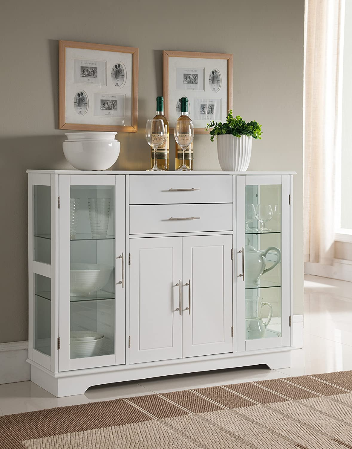 Amazon.com   Kings Brand Kitchen Storage Cabinet Buffet With Glass Doors,  White   Buffets U0026 Sideboards