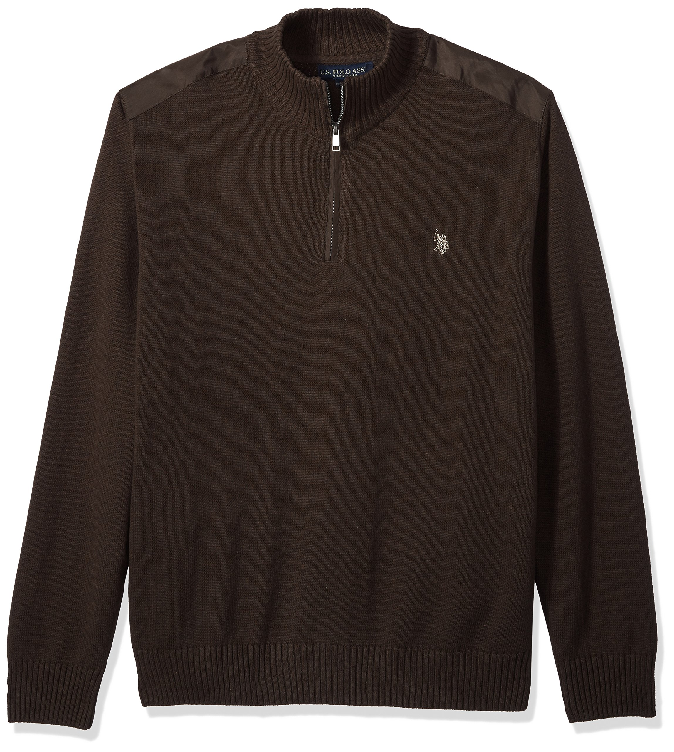 U.S. Polo Assn. Men's Quilted Shoulder 1/4 Neck Sweater, Mocha Heather, Large