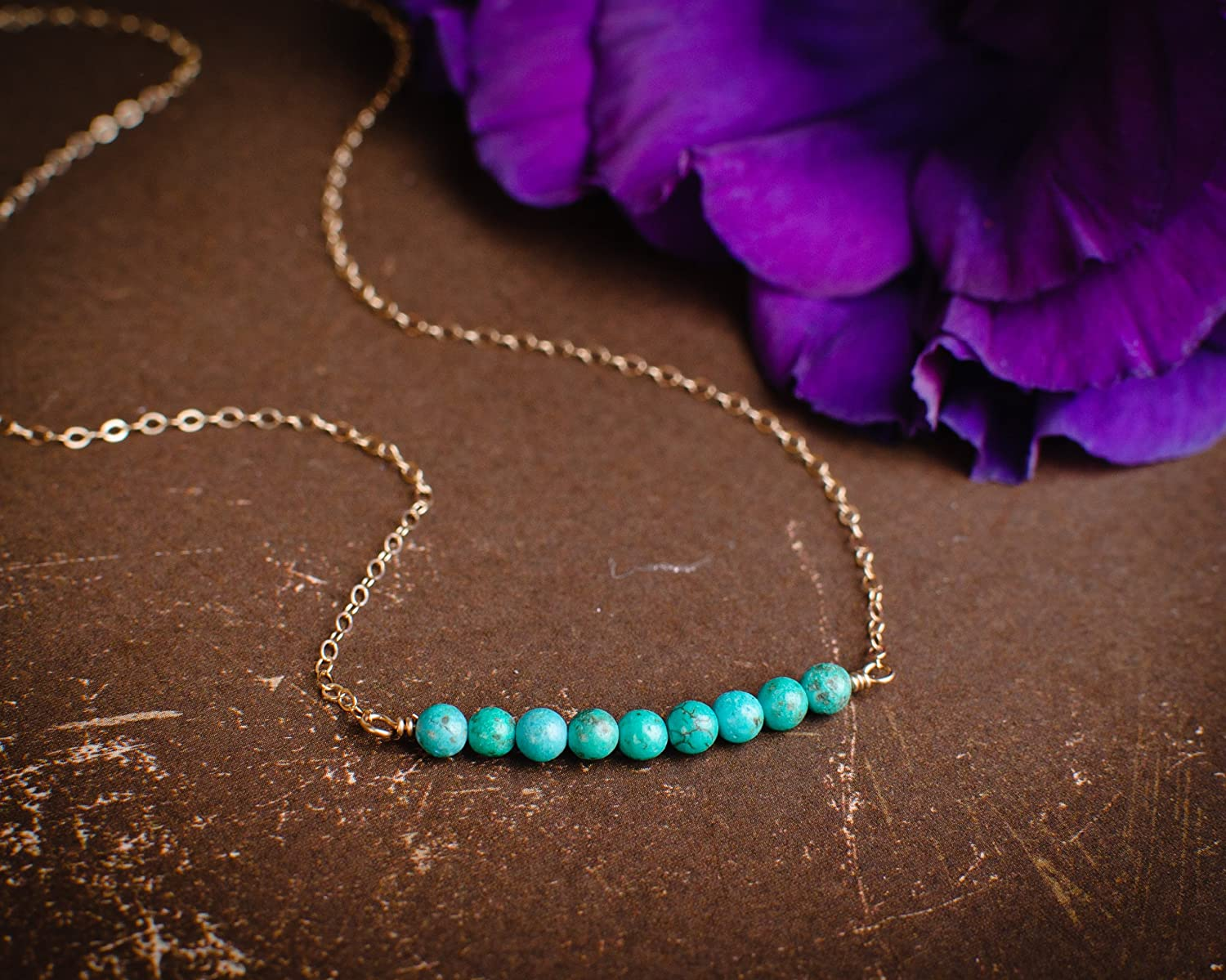 Amazon.com: Gold Filled Blue Beaded Bar Necklace - Modern, Simple ...