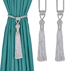 UNI AISENG 2 PCS Curtain Tiebacks, Hand-Woven Curtain Tie-Backs Tassel, Elegant Curtain Holdbacks for Home Office Decor-Silver