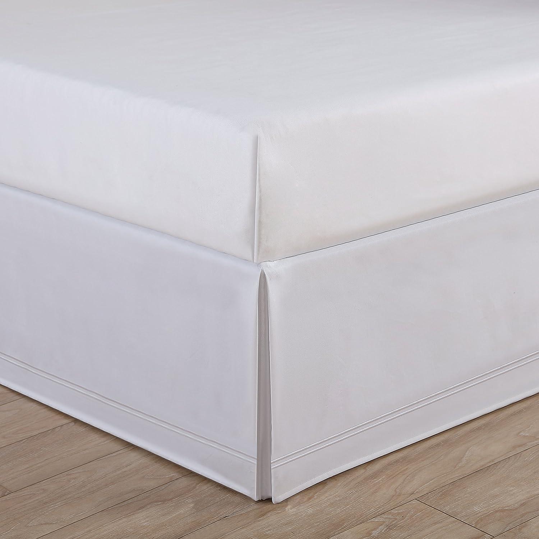 Levinsohn Luxury Hotel Tailored Bed Skirt - Baratta Stitched Hem, White, King