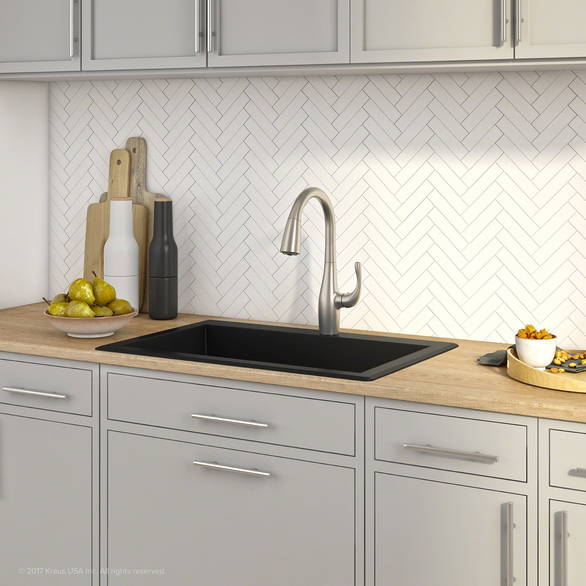"Kraus Forteza 33"" Dual Mount Single Bowl Black Granite Kitchen Sink ..."