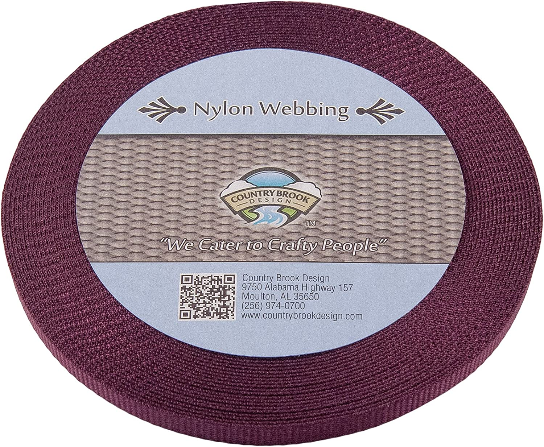 20 Yards Country Brook Design® 3//8 Inch Burgundy Heavy Nylon Webbing