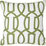 "Mika Home Cotton Embroidery Geometric Links Accent Decorative Throw Pillow Cover Sofa Cushion Case for 18X18"" inserts Green White"