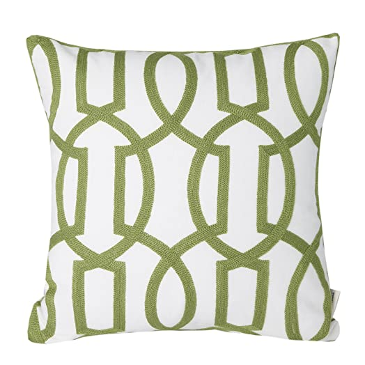 Mika Home Cotton Embroidery Geometric Links Accent Decorative
