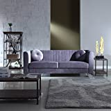 Classic and Traditional Living Room Marilyn Velvet Sofa with Tufted Accent Pillows (Grey)