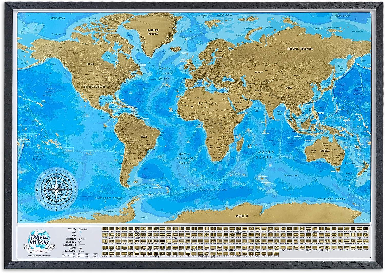 Mapa del mundo para rascar con marco, mapa de viaje grande para rascar en marco, 86 x 60 cm, regalo familiar original, mapa de viaje mundial personalizado, fabricado en Europa, color Black Frame