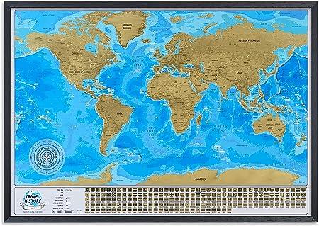 Mapa del mundo para rascar con marco, mapa de viaje grande para ...