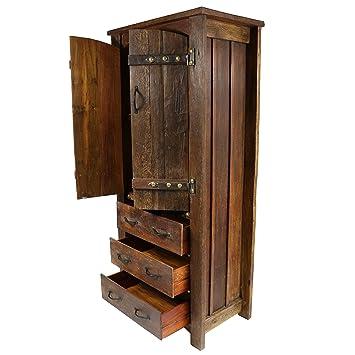 Oriental Galerie Bauernschrank Geräumiger Rustikaler Schrank  Schubladenschrank Holzschrank Kleiderschrank Wohnzimmerschrank 1,80m Höhe  Dunkelbraun Teakholz