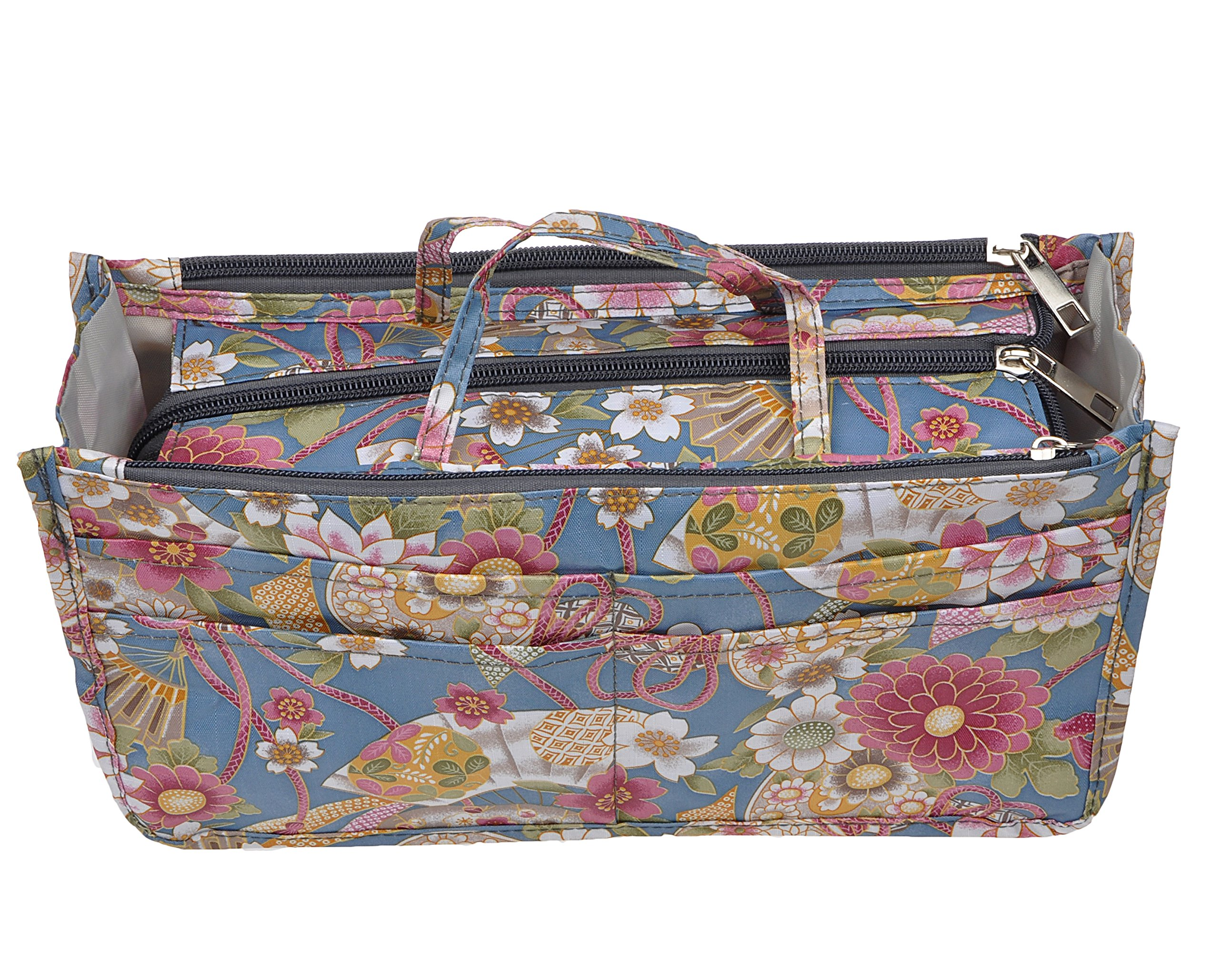 Vercord Printed Purse Handbag Tote Insert Organizer 13 Pockets With Zipper Handle Happy Flowers Medium