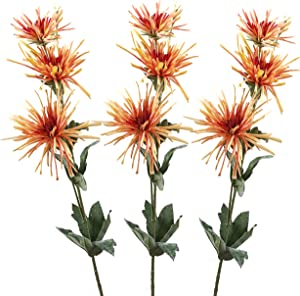"Lily Garden Spider Mum Artificial Flower 32"" Real Touch 9 Flowers Pack of 3 (Orange)"