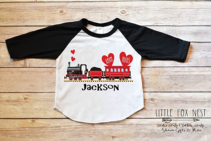 153cf7d3 Amazon.com: Valentines Shirt, Train Shirt, Valentines Outfit Boy, Toddler  Boy Shirt, Baby Boy Shirt: Handmade