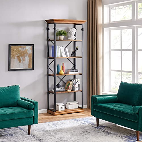 Danya B Juanita 6-Tier Etagere Wood and Metal Open Bookcase GH9006BW | Real Wood and Metal Freestanding Bookshelf | Industrial