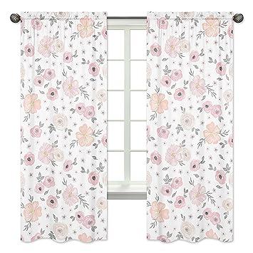 Sweet Jojo Designs 2 Piece Blush Pink, Grey And White Window Treatment  Panels Curtains