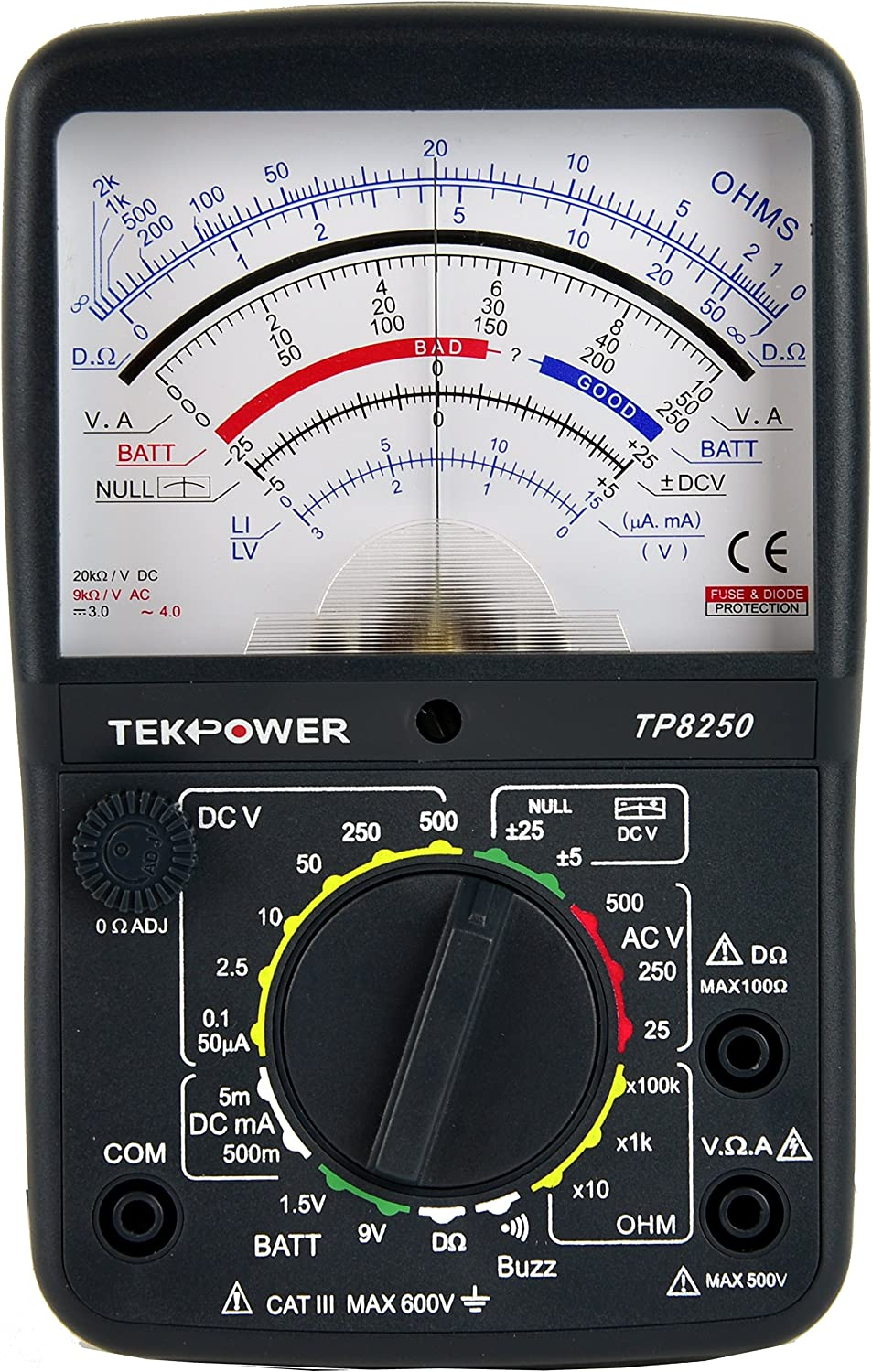 Tekpower TP8250 Analog Multimeter with NULL Middle Position 0 For Variation Measurement