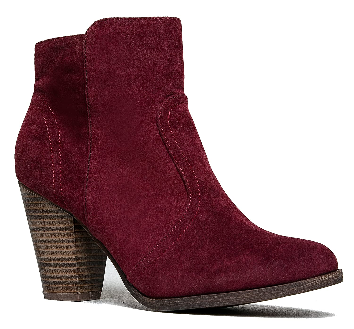 e23e2e2f8f434 Breckelles Women s HEATHER-34 Faux Suede Chunky Heel Ankle Booties Wine  Suede 6.5 B(M) US: Amazon.in: Shoes & Handbags