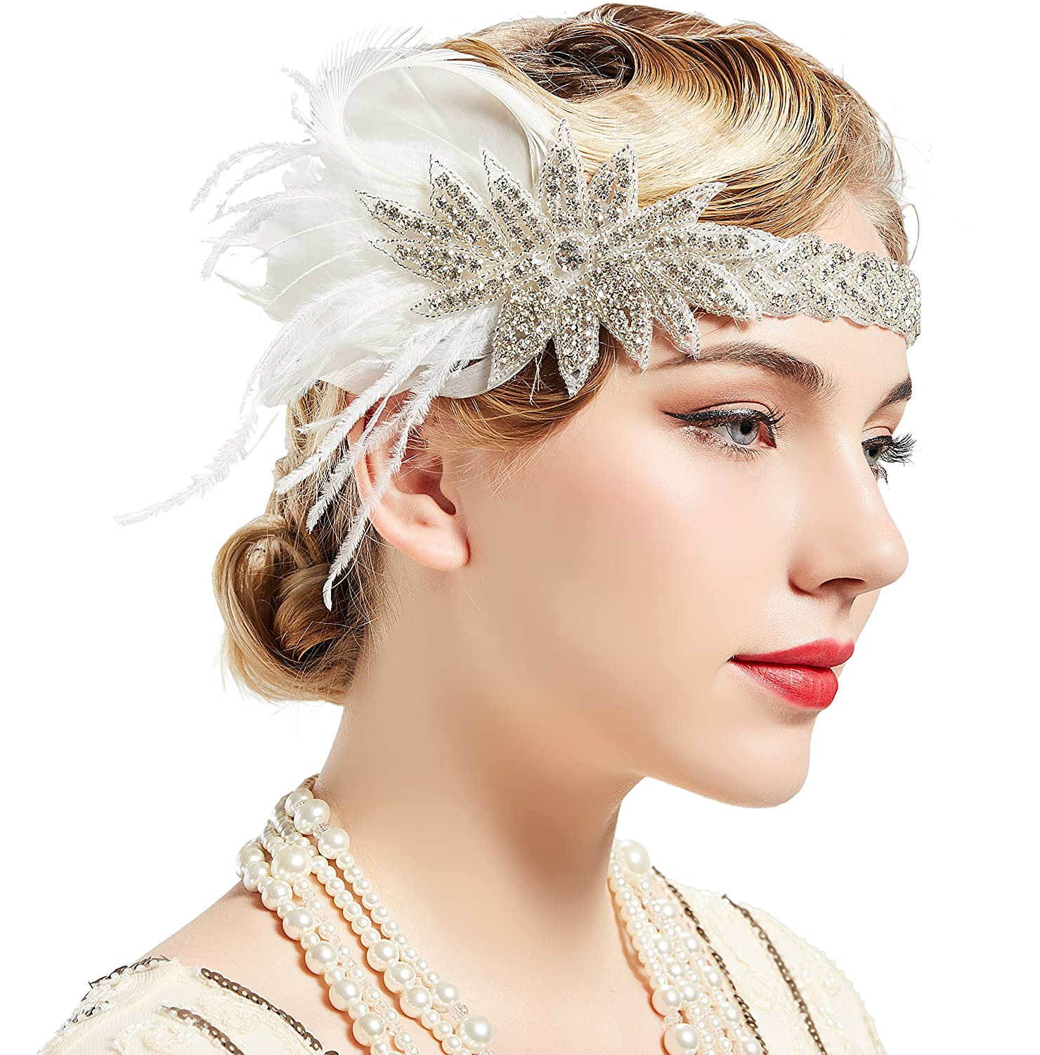 BABEYOND Vintage 1920s Flapper Headband Roaring 20s Great Gatsby Headpiece with Feather 1920s Flapper Gatsby Hair Accessories (White)