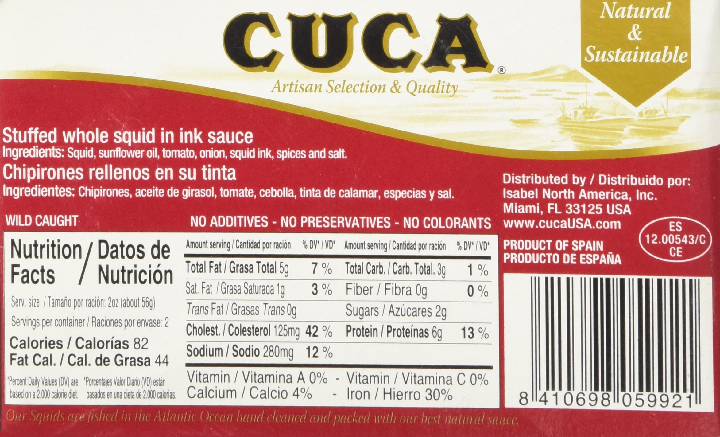 '' Cuca'' Stuffed Whole Squid (Calamares) in Ink Sauce 4 Oz (Canned) by Cuca (Image #4)
