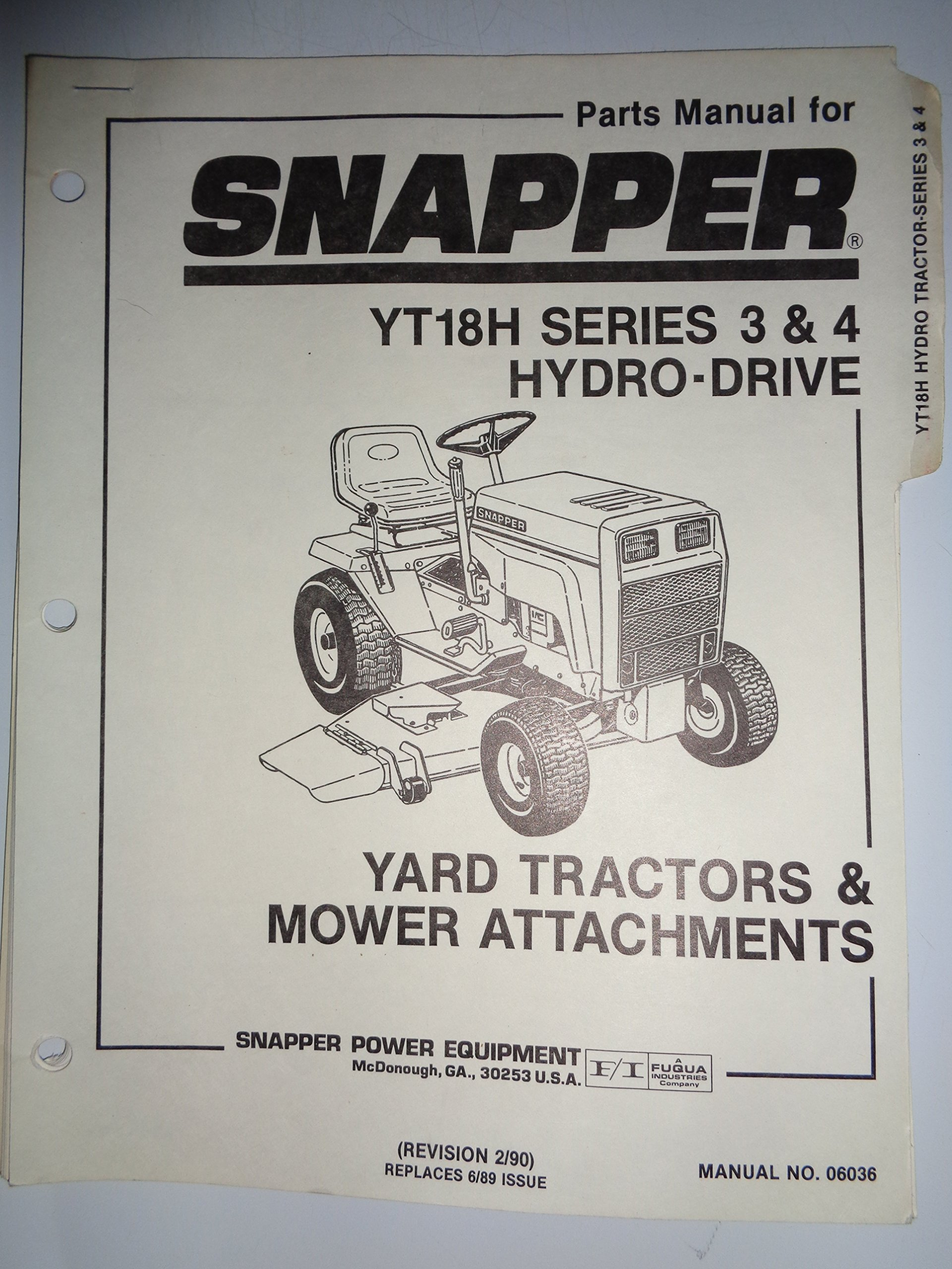 Snapper Series 3 And 4 Model Yt18h Lawn Garden Tractor Parts Diagram Catalog Book Manual 2 90 Books