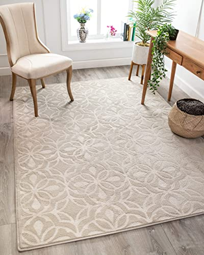 Well Woven Orchid Clara Cream Neutral Country Farmhouse Geometric Lattice 3 11 x 5 3 Low Pile Area Rug