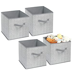 mDesign Soft Fabric Closet Storage Organizer Bin Box - Front Handle, for Cube Furniture Shelving Units Bedroom, Nursery, Toy Room - Textured Print - Large, 4 Pack - Gray