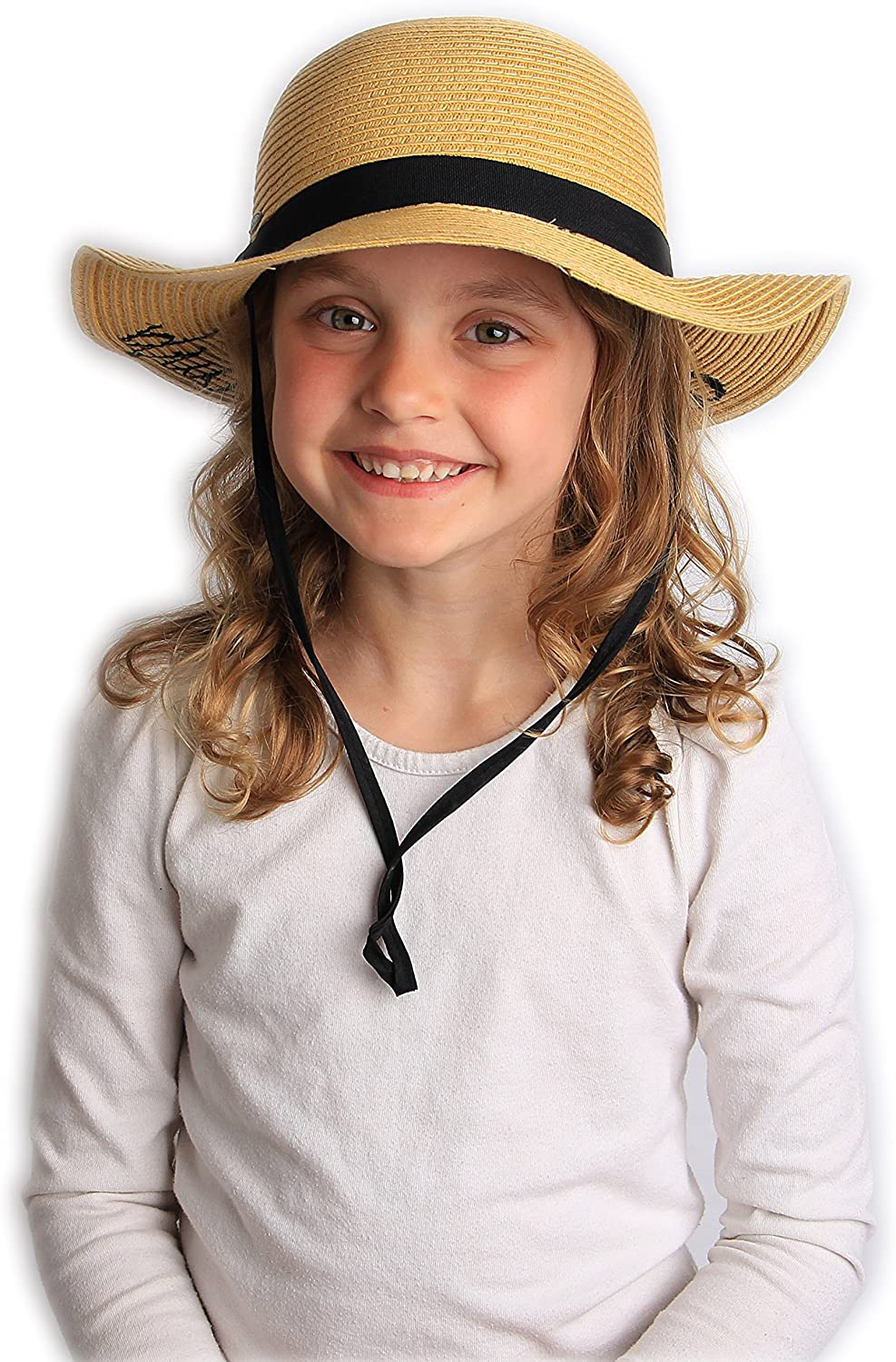H-3017-BB06 Girls Embroidered Sun Hat Natural Beach Baby