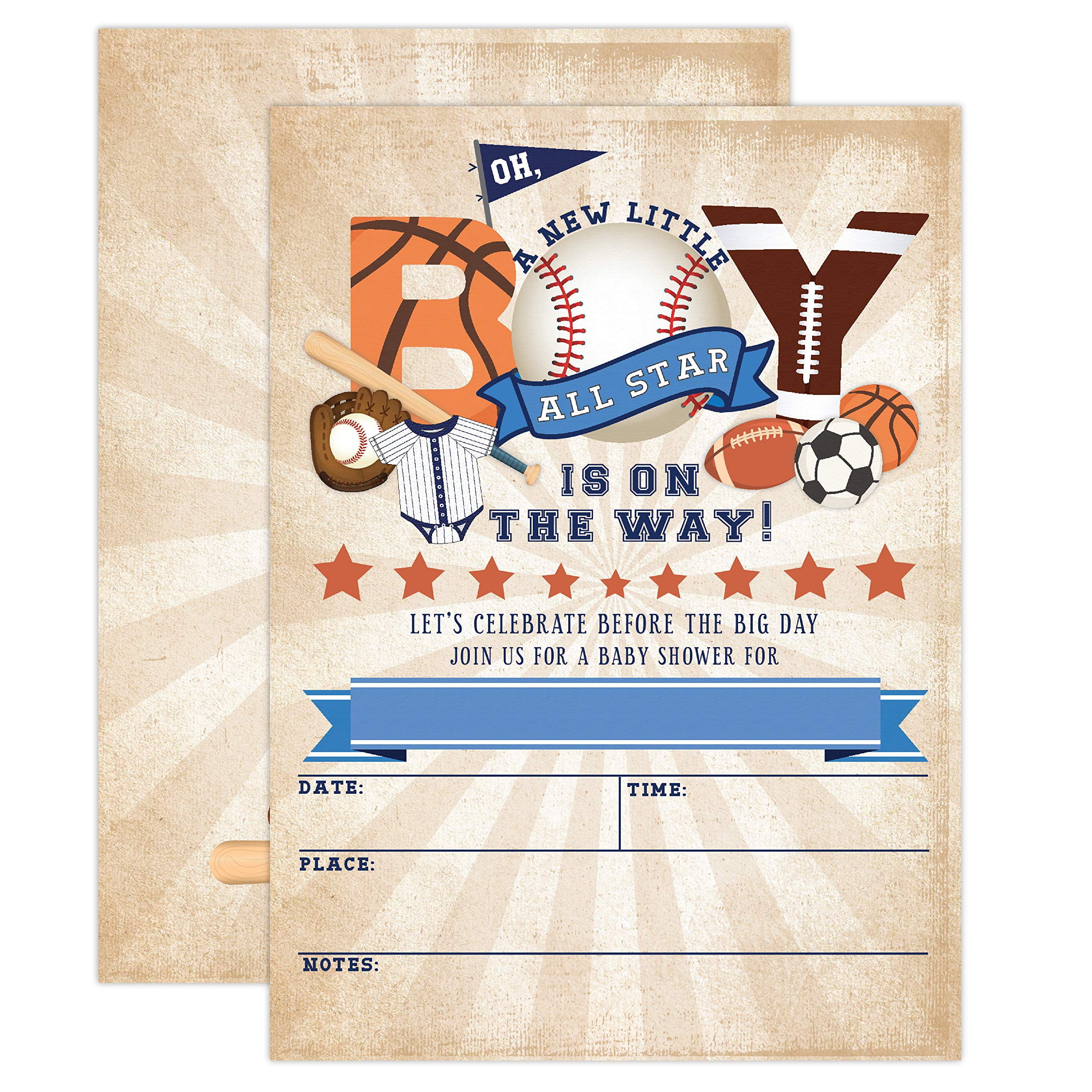 All Star Sports Baby Shower Invitations, Football Baby Shower, Baseball Baby Shower, Basketball Baby Shower, Boy Baby Shower Invitations, 20 Fill in Invitations and Envelopes