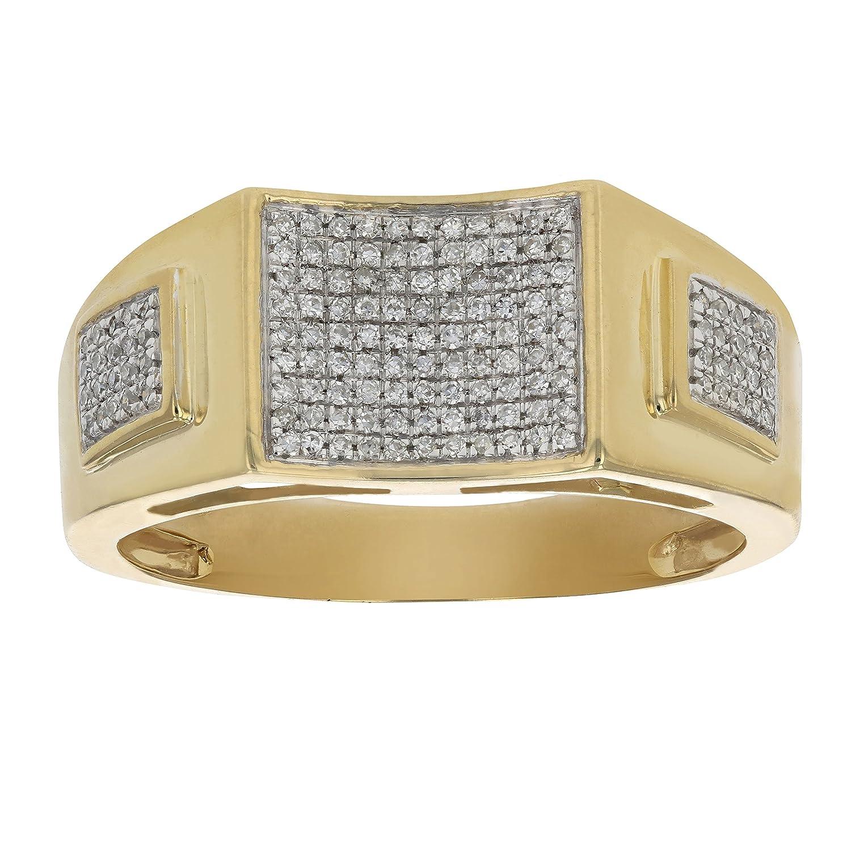 1/4 CT Diamond Pave Set Men's Diamond Ring 10K Yellow Gold