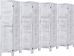 RHF 8 Panel 5.6 Ft Tall Wood Room Divider, Wood Folding Room Divider Screens, Panel Divider&Room Dividers, Privacy Screens,Partition & Wall Divider,Space Seperater (8 Panel, Coconut)
