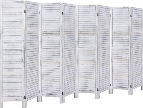 RHF 8 Panel 5.6 Ft Tall Wood Room Divider, Wood Folding Room Divider Screens, Panel Divider Room Dividers, Privacy Screens,Partition Wall Divider,Space Seperater 8 Panel, Coconut