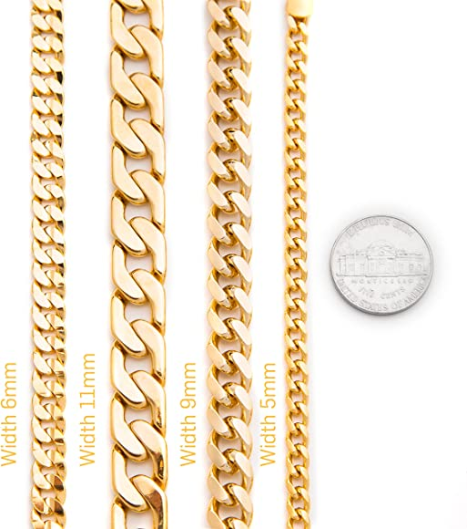 Lifetime Replacement Guarantee 16-30 20X More Real 24k Plating Than Other Necklaces Thick and Durable 7.7mm Venetian Gold Chain Lifetime Jewelry Statement Necklace for Women /& Teen Girls