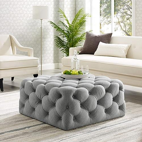 Best Master Furniture Sherlyn Tufted Velvet Round Ottoman Footstool, Navy Blue