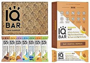 IQBAR Keto Protein Bars Bundle (19 Bars) - Gluten-free, Dairy-free Low Carb Protein Bars and Vegan Snacks - 12 Banana Nut Protein Bars + 7 Bar Sampler Keto Snacks