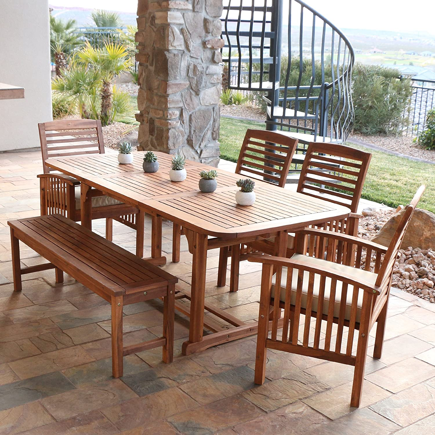 wooden dining furniture. Amazon.com: WE Furniture Solid Acacia Wood 6-Piece Patio Dining Set: Garden \u0026 Outdoor Wooden