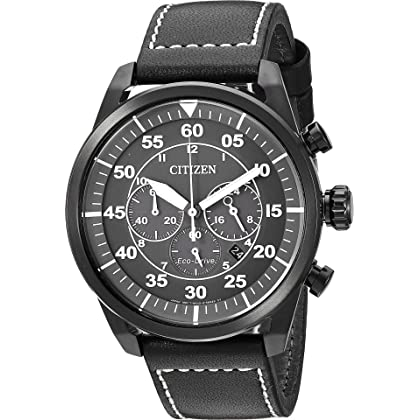 910156525ae170 Citizen Men's 'Eco-Drive' Quartz Stainless Steel and Leather Casual Watch,  Color:Black (Model: CA4215-21H)