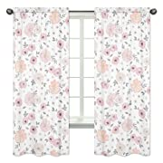Sweet Jojo Designs 2-Piece Blush Pink, Grey and White Window Treatment Panels Curtains for Watercolor Floral Collection by